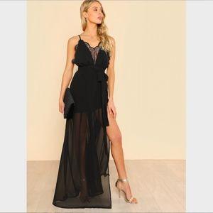 Lace Plunging V-Neck High Slit Cami Long Dress